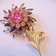 REDUCED Judy Lee Large Rhinestone Flower Pin Brooch