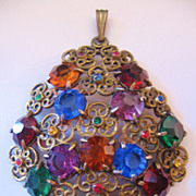 REDUCED Vintage Czech Multi Rainbow Colored Floral Pendant