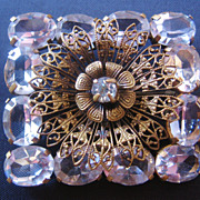 REDUCED Vintage Signed Czechoslovakia Brass and Faceted Clear Crystal Pin-Brooch