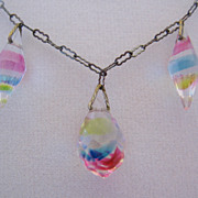 REDUCED Art Deco Iris Glass and Paperclip Chain Necklace