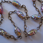 REDUCED Vintage Art Glass Foil Bead and Brass Necklace