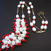 REDUCED Vintage Flapper Length White and Red Glass Bead Necklace