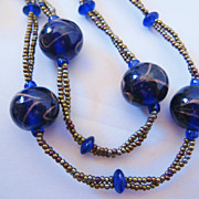 REDUCED Vintage Art Glass and Seed Bead Cobalt Blue Necklace