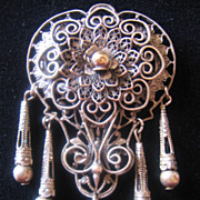 REDUCED Vintage Silver Wash -Brass Openwork Floral and Scroll Pin-Brooch