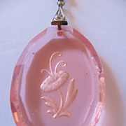 REDUCED Vintage Art Deco Morning Glory Intaglio Glass Pendant-Necklace