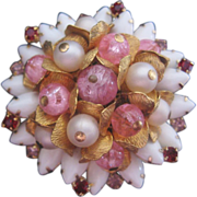 REDUCED Vintage White Rhinestone-Pink Art Glass and Faux Pearl Pin-Brooch