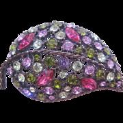 REDUCED Vintage Multi Colored Rhinestone Leaf Pin-Brooch