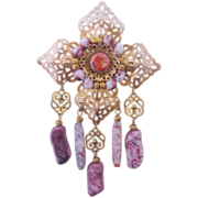 REDUCED Vintage Large Art Glass-Purple/White and Openwork Brass Pin-Brooch