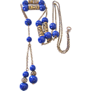 REDUCED Art Deco  Cobalt Prosser Bead and Brass Sautoir Necklace