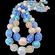 REDUCED Vintage Blue Art Glass Demi Bib Necklace -Japan
