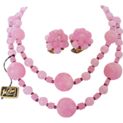 REDUCED Vintage Coro Pink Swirl Necklace and Earrings Set -Original Card-Hangtag