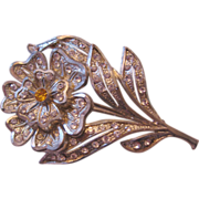 REDUCED Vintage Pot Metal Floral Rhinestone Pin-Brooch
