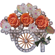 REDUCED Vintage Early Pot Metal Flower Cart with Orange Roses Pin-Brooch