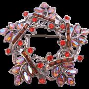 REDUCED Vintage Coro Rhinestone Star and Leaf Pin-Brooch