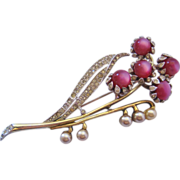 REDUCED Vintage Coro Pink Moonstone and Rhinestone Floral Pin-Brooch