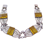 REDUCED Vintage Deco Yellow Glass Panel Bracelet