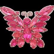 Vintage Juliana D & E Pink Butterfly Pin-Brooch