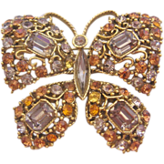 Vintage Large Rhinestone Butterfly Pin-Brooch