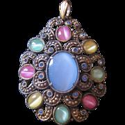 Vintage Czech Pastel Satin Cat Eye Glass Pendant