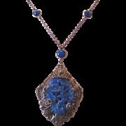 Vintage Art Deco Czech Pressed Molded Cobalt Glass Necklace