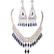 Vintage Rhinestone and Crystal Drop Statement Bib Necklace and Earrings