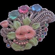 Vintage Enamel Floral Rhinestone Pot metal Pin-Brooch