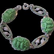 Vintage Czech Molded-Pressed Glass and Enamel Panel Bracelet