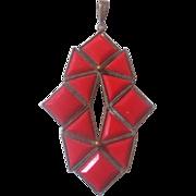 Vintage Czech  Lipstick Red Glass Art Deco Design Brass Pendant