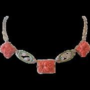 Vintage Czech Press Molded Glass and Enamel Necklace