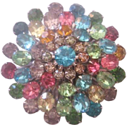 Vintage Coro Pastel Multi Color Rhinestone Pin-Brooch