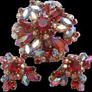 Vintage Triad Signed Rhinestone Pin-Brooch and Earrings Set