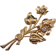 Vintage Coro Goldtone and Clear Rhinestone Floral Pin-Brooch