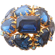 Vintage Royal Blue Domed Rhinestone Pin-Brooch