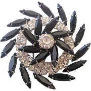 Vintage Black and Clear Rhinestone D&E Pinwheel Pin-Brooch