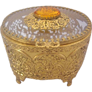 Beautiful Gold Ormolu Oval Covered Jewelry Casket Floral Detail-Beveled Glass and Amber Crysta