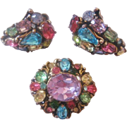 Vintage Pastel Holly Craft Pin and Earrings Set