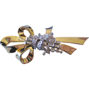 Vintage Mazer Flower and Bow Rhinestone Pin-Brooch