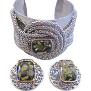Vintage Large Size Wide Silvertone Cuff and Earrings