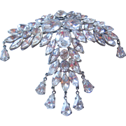 Vintage Large Exceptional Potmetal and Clear Rhinestone Statement Pin-Brooch