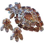 Vintage Large Openback Crystal Pin-Brooch and Earrings Set