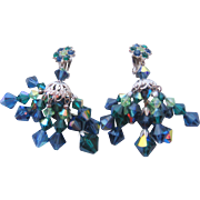 Stunning Vintage Kramer Green-Blue Aurora Crystal Chandelier Earrings