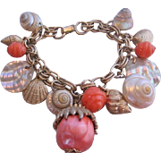 Vintage Natural and Simulated Sea Shell Charm Bracelet