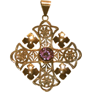 Large 10k Rose Gold Hand Made Arts & Crafts Antique Maltese Cross Pendant, Color Change Stone
