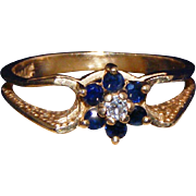 14kt Gold, Sapphire & Diamond Vintage Ring, High Set Stones, Size 6 ½