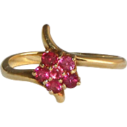 SALE 14k Yellow Gold, Ruby Flower Vintage Bypass Ring, Size 7