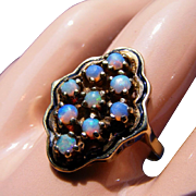 SALE 9 Blue Fire Opals 14k Gold & Opal Vintage Cocktail Rings, Size 6 1/2