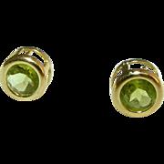 14k Gold Vintage Peridot Stud Earrings for Pierced Ears