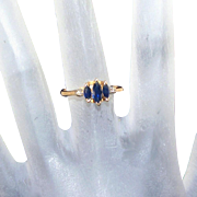 14k Yellow Gold, Sapphire & Diamond Vintage Ring, Size 6