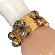 SALE 22kt Gold & Venetian Glass Antique Grand Tour c.1900 Extra Wide Museum Quality Bracelet