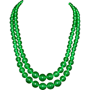 Jade Apple Green Signed Christian Dior Germany1962, 2 Strand Necklace